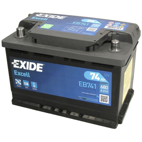 Акумулатор EXIDE Excell 74Ah 680A, ляв плюс